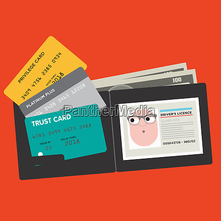 various credit cards and drivers license