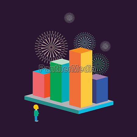 fireworks above successful bar chart