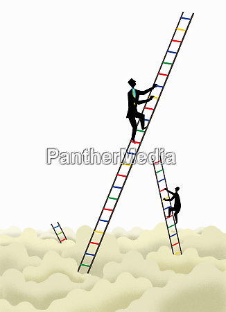 businessmen climbing multicolored ladders above clouds