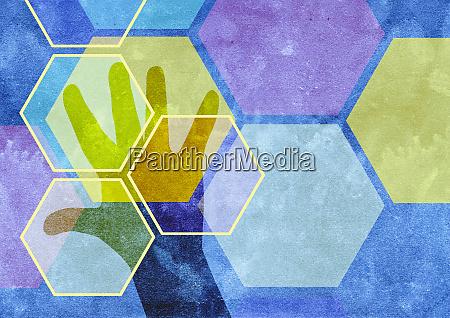 hexagonal pattern over mans hand