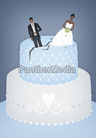 bride and groom on top of