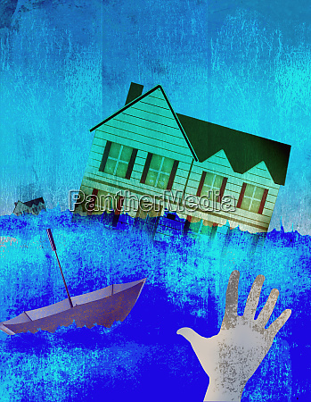 hand reaching out to house swept