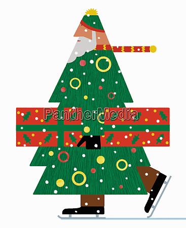 santa claus christmas tree ice skating