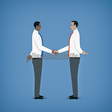 hypocritical businessmen shaking hands hiding crossed