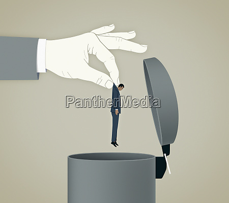 large hand throwing unshaven businessman into
