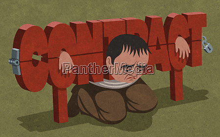 unhappy man trapped in contract pillory