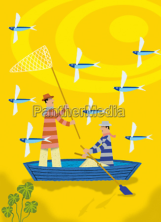 men in rowing boat catching flying