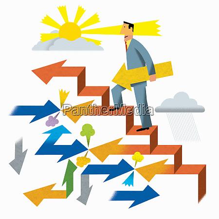 successful businessman climbing ascending arrow staircase