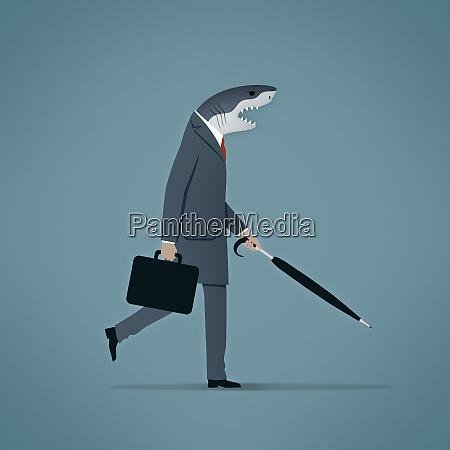 businessman with shark head