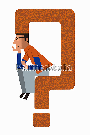 uncertain man sitting on question mark