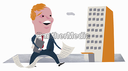 enthusiastic businessman with paperwork and clipboard