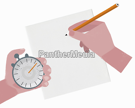 hand holding stopwatch and pencil over