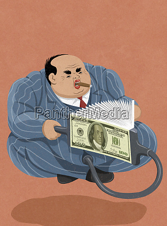 bellows pumping money into inflated overweight