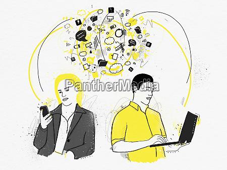 man on laptop communicating with man