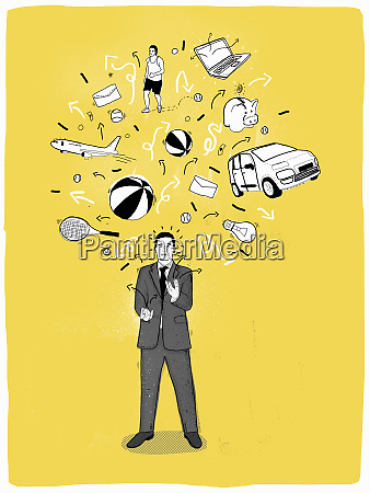 businessman multitasking juggling work and leisure
