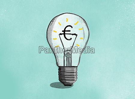 euro sign inside illuminated light bulb