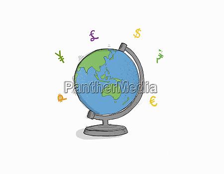 currency symbols around globe with australia