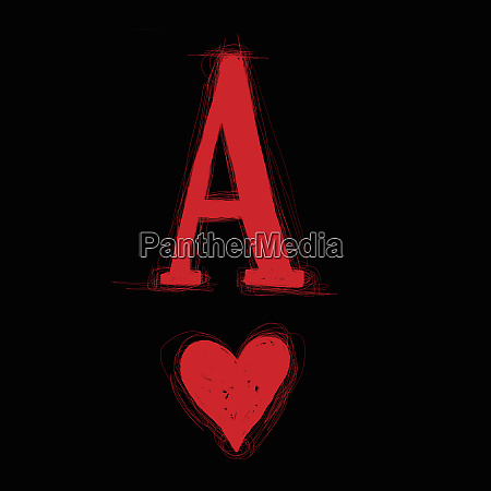 ace of hearts on black background