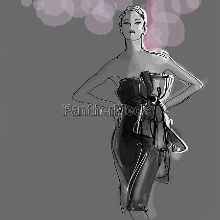 portrait of elegant woman in glamorous