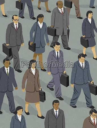 businessmen and businesswomen walking to work