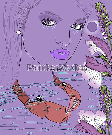 cancer woman zodiac sign wearing crab