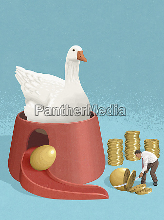 goose laying golden egg for businessman