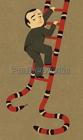 anxious businessman climbing snake ladder