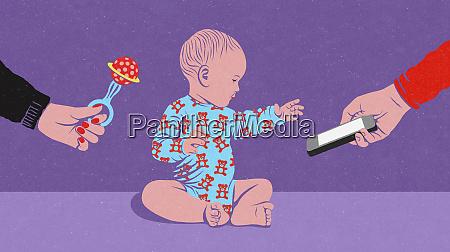 baby choosing smart phone instead of