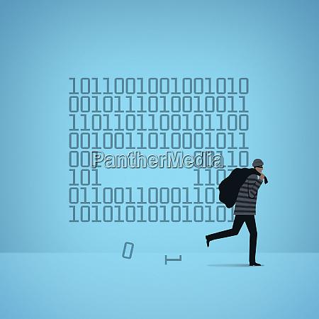 burglar stealing computer binary code