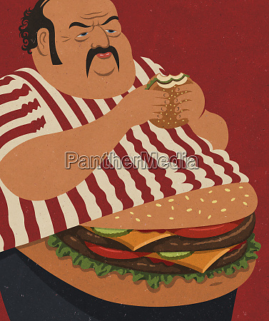 overweight man eating fast food with