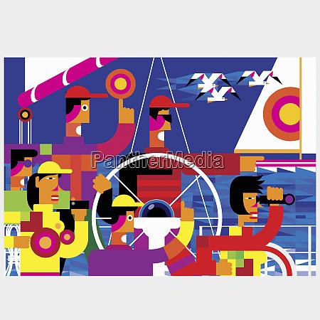 vibrant multicolored geometric pattern of tourists