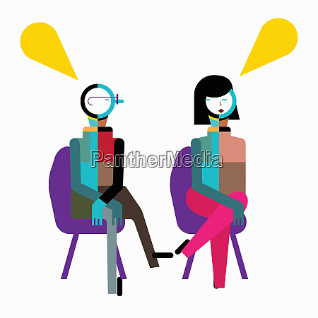 speech bubbles above man and woman