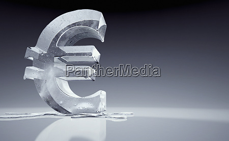 melting frozen euro sign