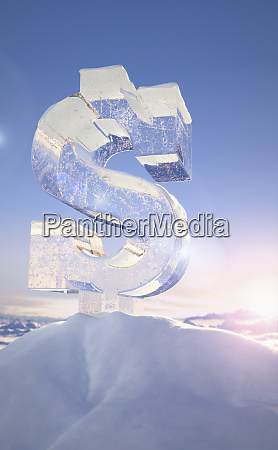 frozen dollar sign on top of