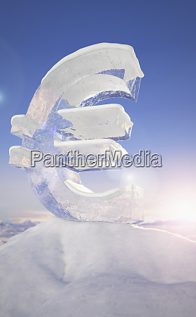 frozen euro sign on top of