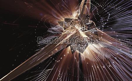 complex abstract of exploding light and