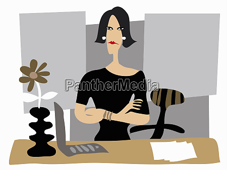 portrait of annoyed businesswoman with arms