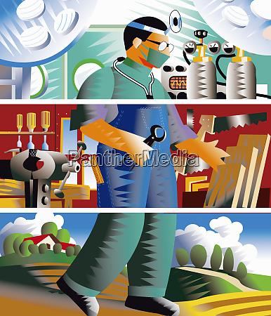split image of doctor carpenter and