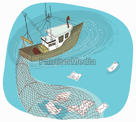 trawler boat with net phishing and
