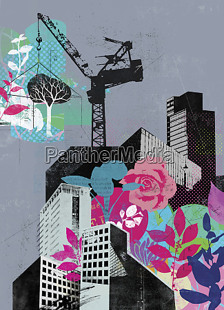 crane building city with plants and