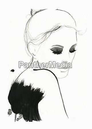 beautiful woman looking down wearing black