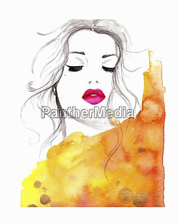 beautiful woman asleep wearing pink lipstick