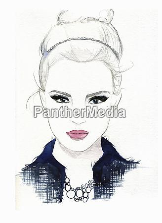 portrait of serious beautiful woman wearing