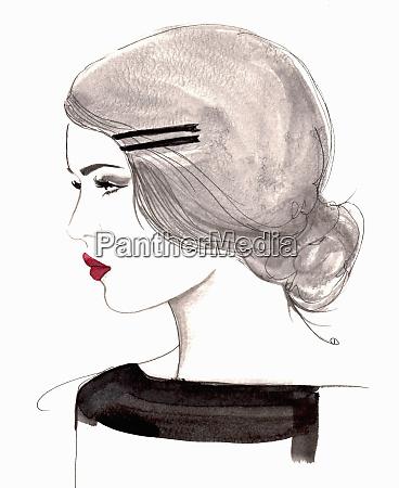 profile of elegant retro woman wearing