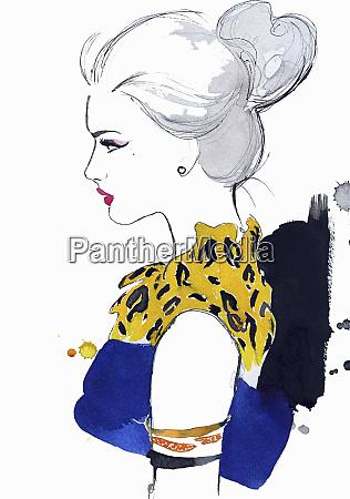 profile of elegant woman wearing animal
