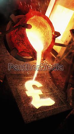 molten metal pouring into pound sign