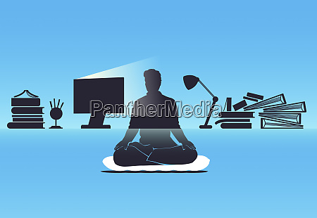 man with busy workload on desk