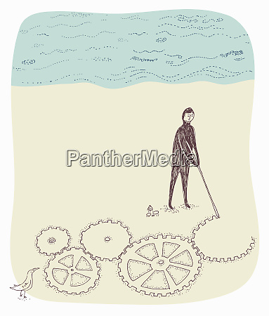 man drawing connected cogs in sand
