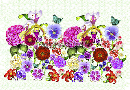 bright colorful repeat floral pattern with