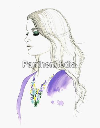fashion illustration of woman wearing gemstone